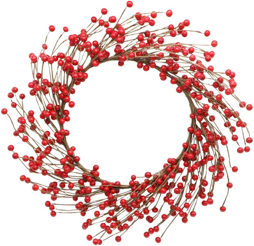 AfooBezos Christmas Door Wreath, 17 Inch Front Door Red Pip Berry Wreaths Artificial Twig Garland Hanging Room Wall Ornaments Decoration for Home Farmhouse Bedroom Wall Window Office Decor