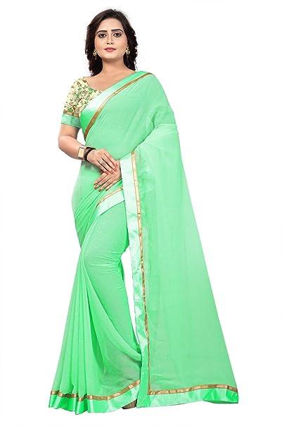 733b1b8417ca23 Jaanvi fashion Women s Marble Chiffon Saree with Digital Print Blouse  (Green