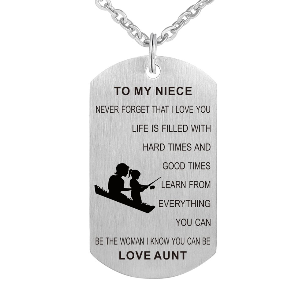 Aunt to My Niece Never Forget That I Love You Gift Jewelry Dog Tag Keychain Pendant Necklace