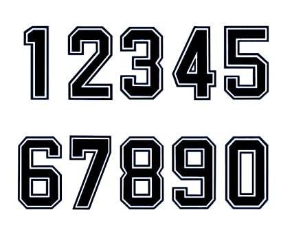 "6.3"" Tall Numbers 0-9 Iron On Heat Transfer for Football Baseball Jersey Sports"
