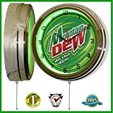Mountain Dew 15'' Neon Light Wall Clock Sign Soda Pop Shop Bottle Logo Vintage Retro Style Green