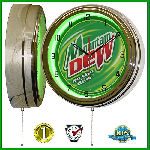 Mountain Dew 15'' Neon Light Wall Clock Sign Soda Pop Shop Bottle Logo Vintage Retro Style Green by Mountain Dew