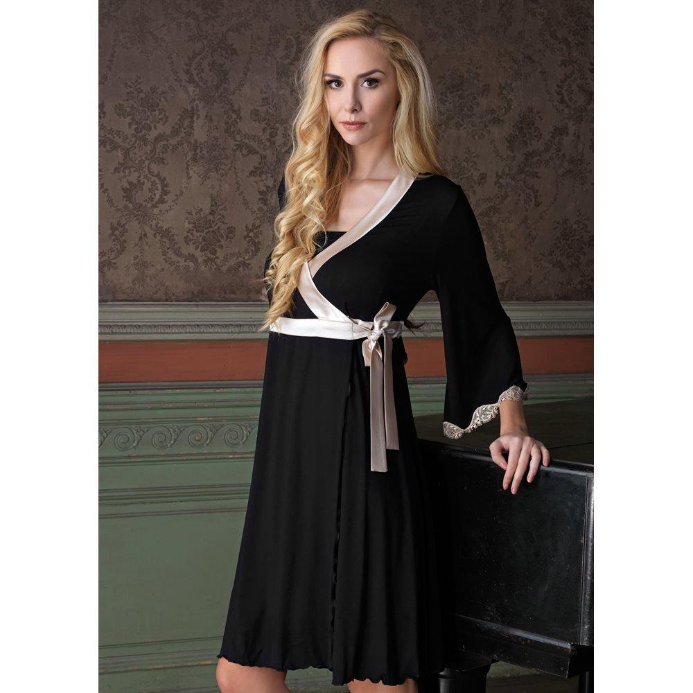 e8ffaf391 Vanilla Dressing Gown - Black  Amazon.co.uk  Clothing
