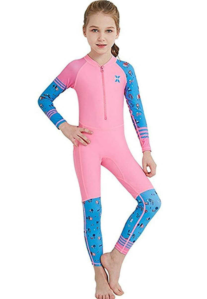 Long Sleeves Full Suit Swimsuit Wetsuit JELEUON Little Kids Girls One Piece Water Sports Sun Protection Rash Guard UPF 50