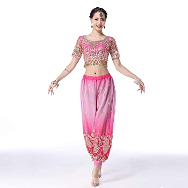 Belly Dance Bollywood Costume Aladdin Costumes Harem Pants For Women(F,S)  Pink
