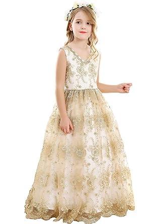 f11e6ed5bef Amazon.com  Bow Dream Vintage Long Tulle Flower Girl Dresses Kids Wedding  Birthday First Communion  Clothing