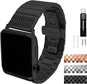Metal band compatible with Apple Watch SE /6/5/4/3/2/1/ Series 38mm 40mm stainless steel strap for man/women Black