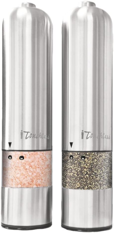 iTouchless Automatic Electric Salt and Pepper Grinder Set – Stainless Steel Construction – Battery Operated – Adjustable Coarseness – LED Light, 2 Count