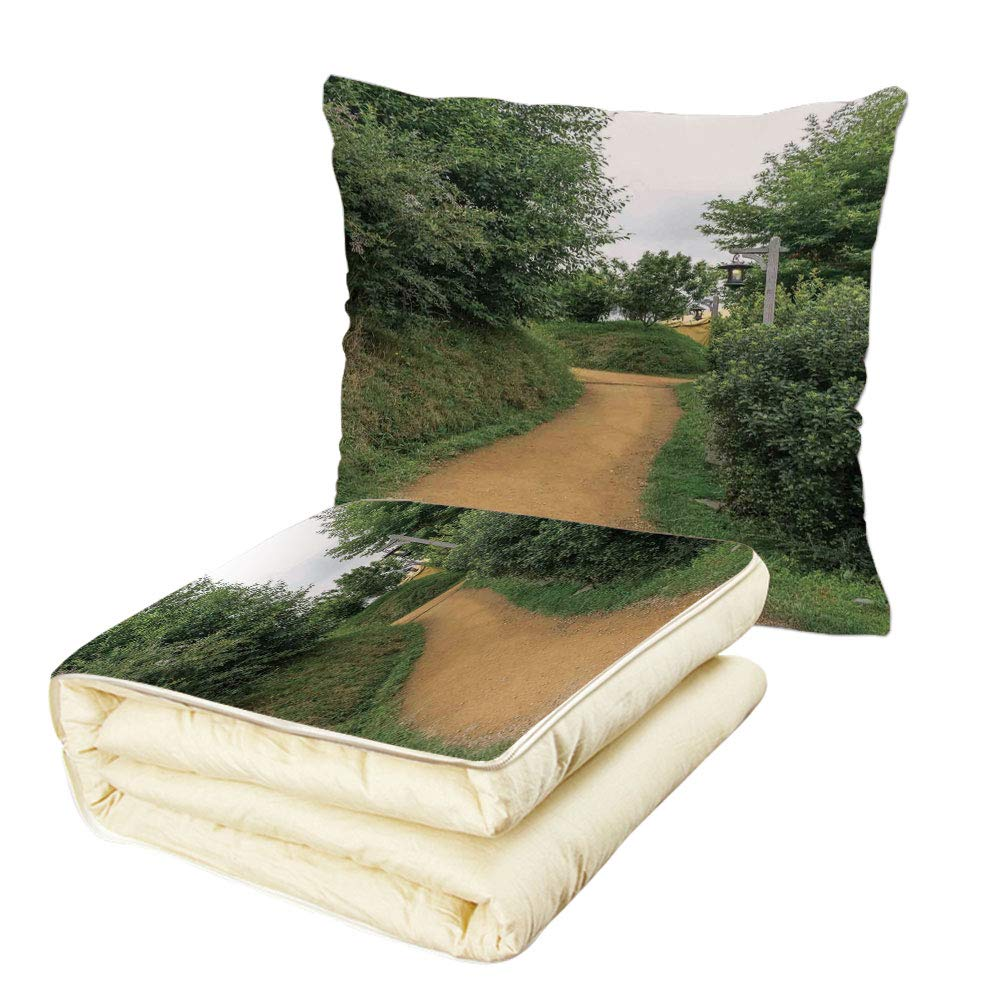 Quilt Dual-Use Pillow Hobbits Elf Path in Woods of Hobbit Land in The Shire New Zealand Movie Set Image Print Multifunctional Air-Conditioning Quilt Green Brown