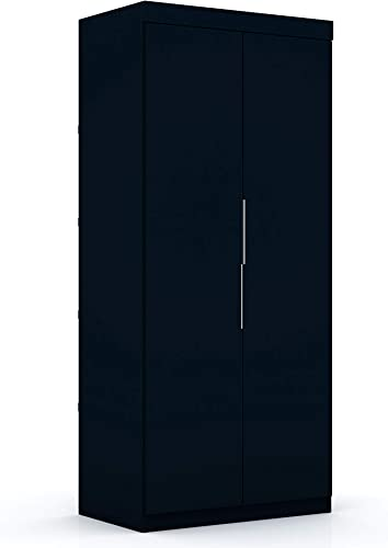 Manhattan Comfort Rockefeller Mid Century Modern 2 Drawer Open Sectional Armoire Wardrobe Closet, 35.98 , Tatiana Midnight Blue