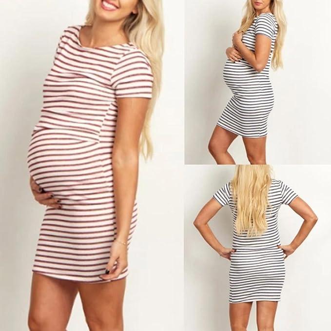 f82127063 QinMM Vestido a Rayas de Mujer Embarazo