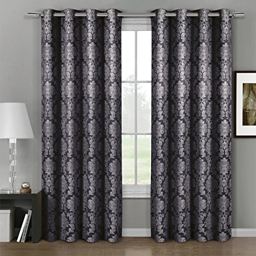 Deluxe Draperies Aryanna Floral Grommet Jacquard 54-Inch-by-63-Inch Curtain Panel Set of 2, Charcoal (Black Paisley Curtains)