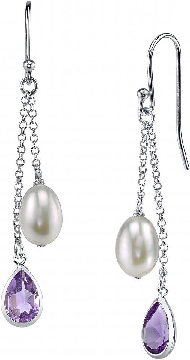 7 mm de color blanco perla cultivada y púrpura de la realeza de pendientes de piedras preciosas
