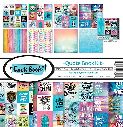 Reminisce (REMBC) QB-200 Quote Book Scrapbook Collection Kit, Multi Color Palette