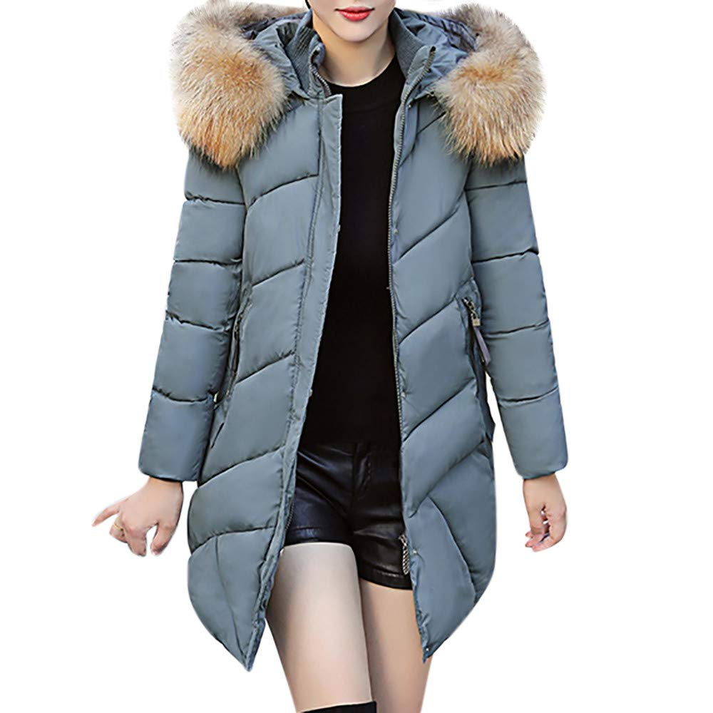 PENATE Women's Slim Winter Warm Down Jacket Casual Solid Plush Cotton Coat Parka