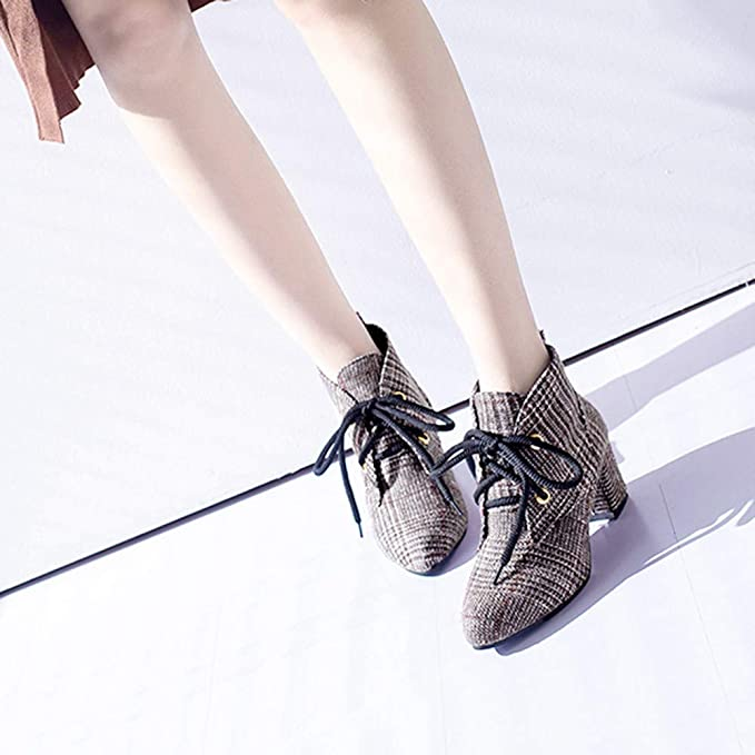 Amazon.com: AIMTOPPY Womens Fashion Plaid Pointed Toe with Low Toe with Bare Boots: Computers & Accessories