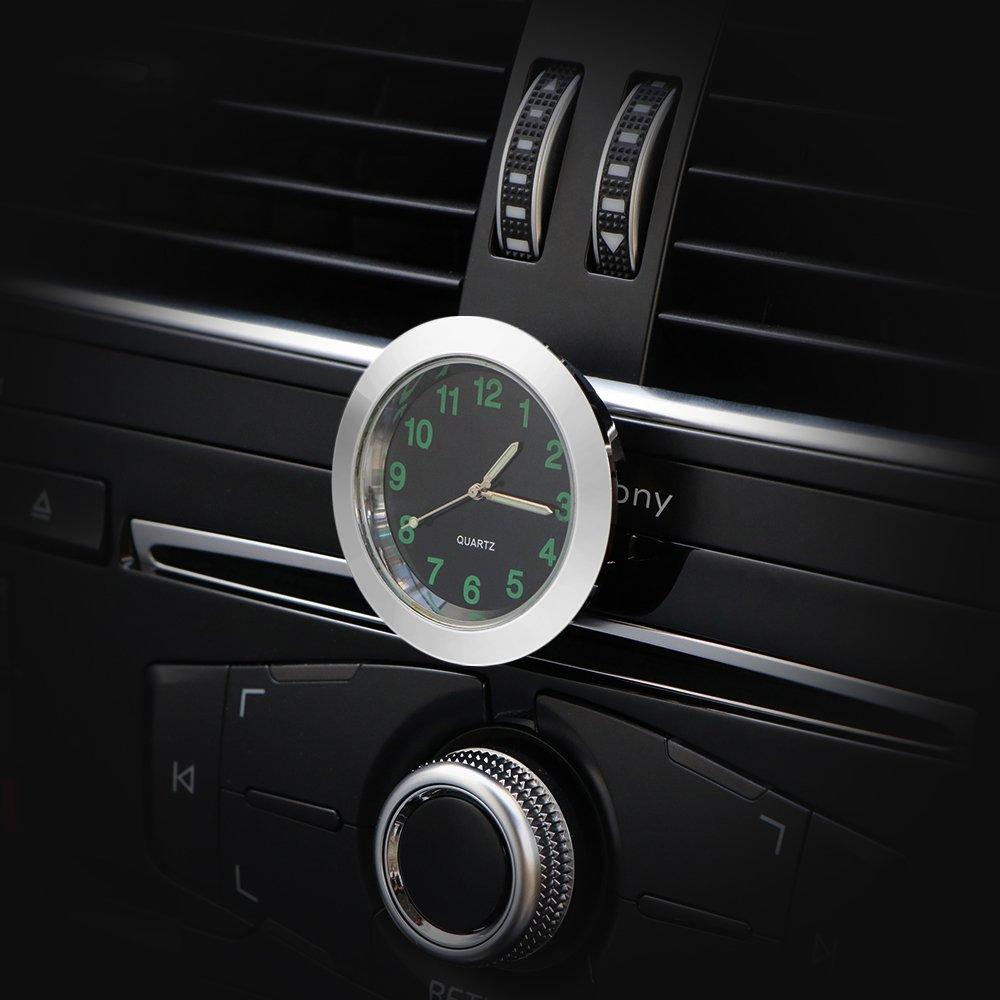 HITECHLIFE Auto Orologio al Quarzo Universale Mini Rotonda Orologio Decorativo per Auto