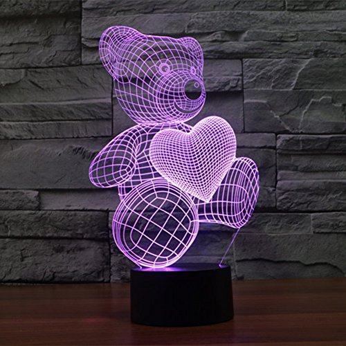 3D Lovely Cat Animal Night Light Table Desk Optical Illusion Lamps 7 Color Changing Lights LED Table Lamp Xmas Home Love Brithday Children Kids Decor Toy Gift