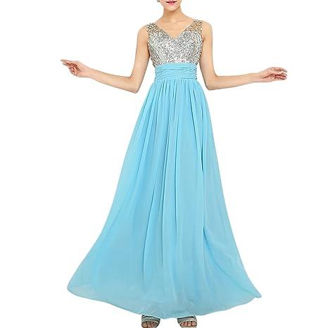 Molly Mujeres Piedras Del Strass Lentejuelas Vestido Largo Vestido De Noche 5XL Ligero Azul