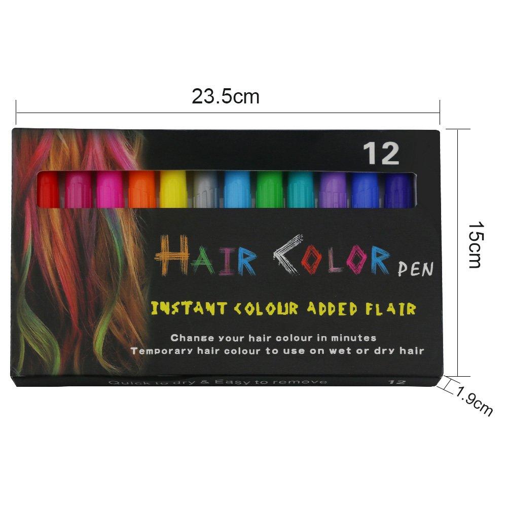 Bestfire Temporary Hair Chalk Pens 12 Colors Washable Hair Dye