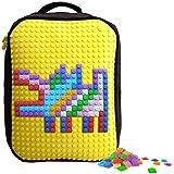 Upixel バックパック 20リットル A001 イエロー フリーチップ240ピース付属 レゴ LEGO コンセプト 脳トレ ゲーム おもちゃ ドット絵 オリジナル マイクラ