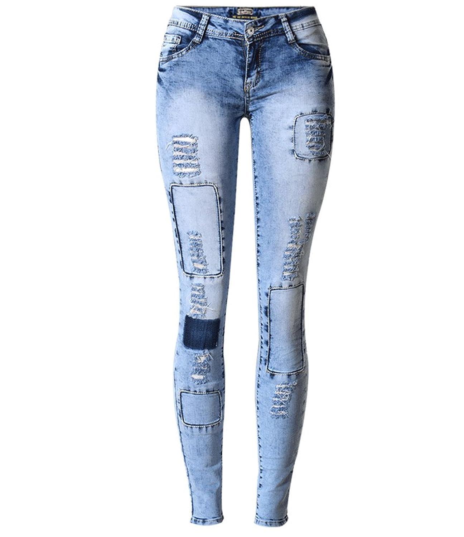 Enlishop Women Fashion Stretch Ripped Distressed Blue Skinny Pencil Denim Jeans