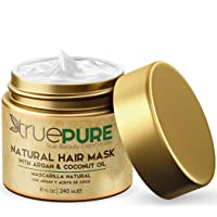 TruePure Natural Hair Mask and Argan Oil Treatment (8 oz.) Deep Conditioning for...