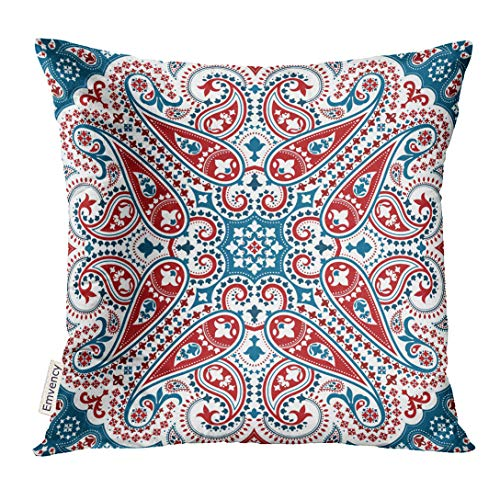 Ornamental Silk Square Scarf - VANMI Throw Pillow Cover Accessory Bandana with Paisley Cotton Silk Headscarf Kerchief Pattern Design Oriental Style Band Border Decorative Pillow Case Home Decor Square 18x18 Inches Pillowcase