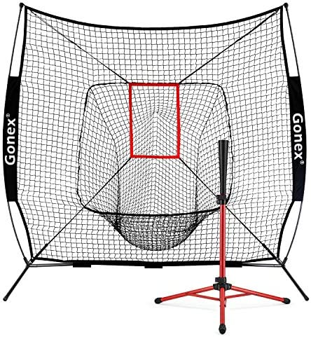 Gonex 7 x 7 Baseball Softball Practice Net for Hitting and Pitching Batting, Practice Training Aid, with Strike Zone, Large Mouth, Bow Frame, Carrying Bag, Black
