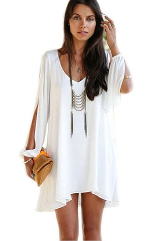 Qissy® Damen Sommerkleid V-Ausschnitt Chiffon trägerlosen A-Linie Casual Rock Minikleid Kleid
