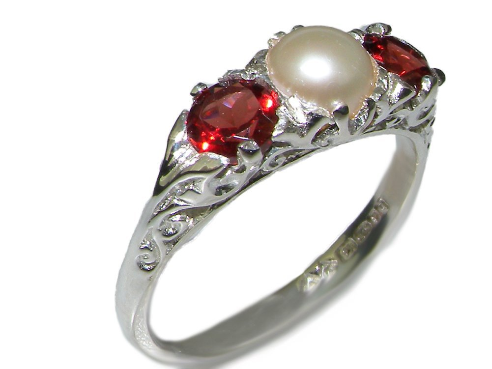 925 Sterling Silver Cultured Pearl and Garnet Womens Promise Ring - Size 9.5