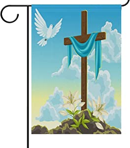 N\ A Garden Flag 12 x 18 Double Sided Easter Wooden Cross with Shroud Spring Dove and Lily Decorative House Yard Flags for Outside Outdoor Welcome Home Decor Banner Stand Size 12x18 inches