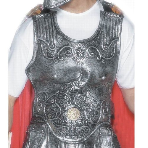 Halloween Costume Breasts (Smiffy's Men's Roman Armour Breastplate, Silver, Latex, One Size, 25324)