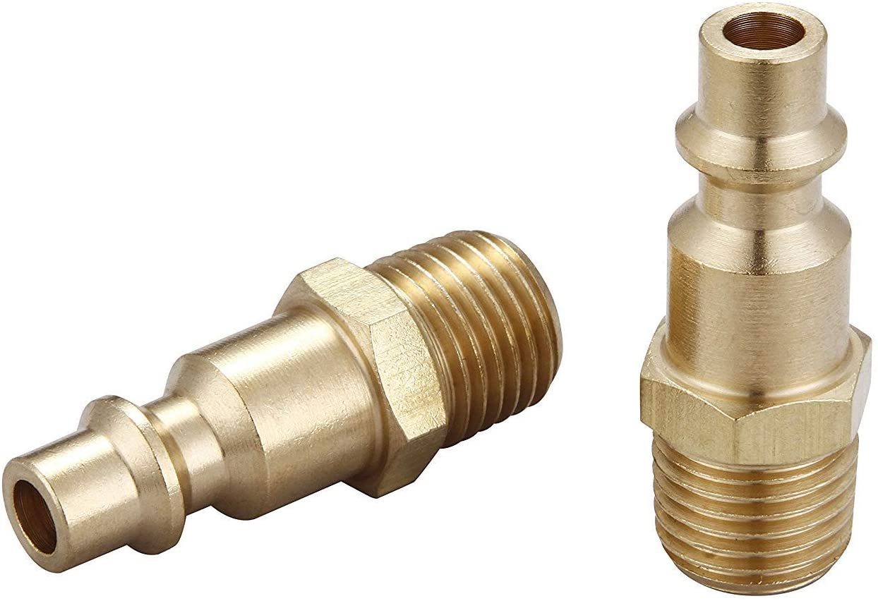 1//4-inch Industrial Type D Brass Quick Coupler Plugs