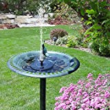 [Upgraded] Solar Powered Bird Bath Fountain Pump Hiluckey 1.4W Solar Panel Kit Water Pump,Outdoor Watering Submersible Pump for Pond, Pool, Garden, Fish Tank, Aquarium