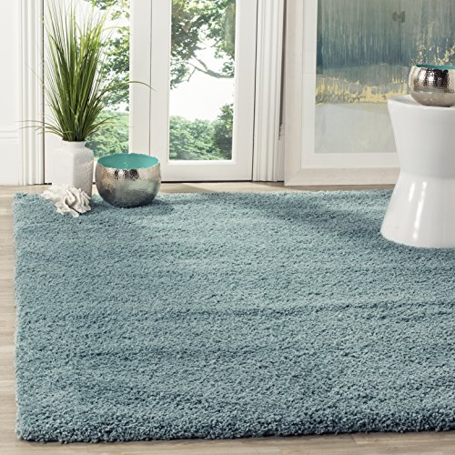 Safavieh California Premium Shag Collection SG151-6060 Light Blue Area Rug (3' x 5') (Blue Luxe Collection)