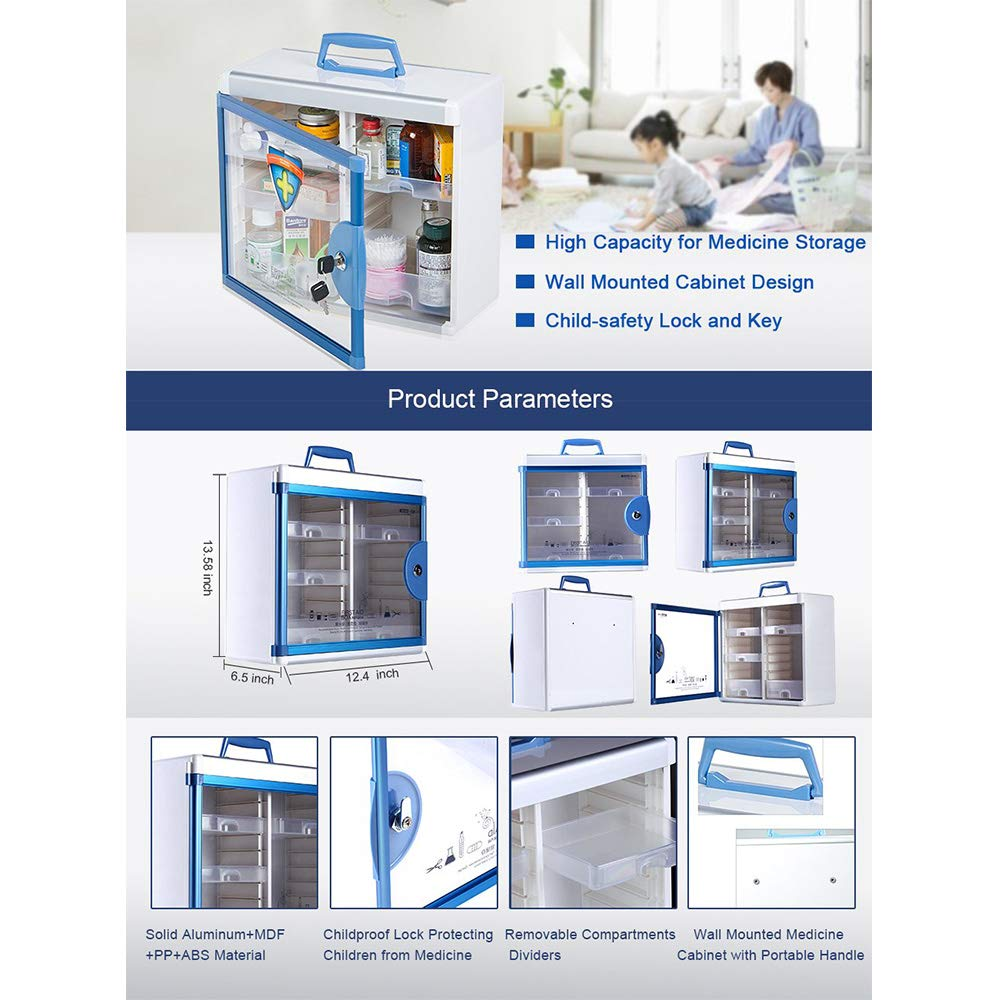 Glosen First Aid Box Lockable Medicine Box with Wall Mounted Function 13.6x6.5x12.4 Inch Blue by Glosen (Image #8)