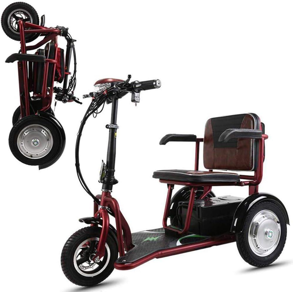 Joyfitness Triciclo eléctrico Plegable portátil Coche eléctrico Tres Ruedas Viejo/Adulto Discapacitado/Exterior Ocio Scooter móvil 20AH Batería de Litio 55KM