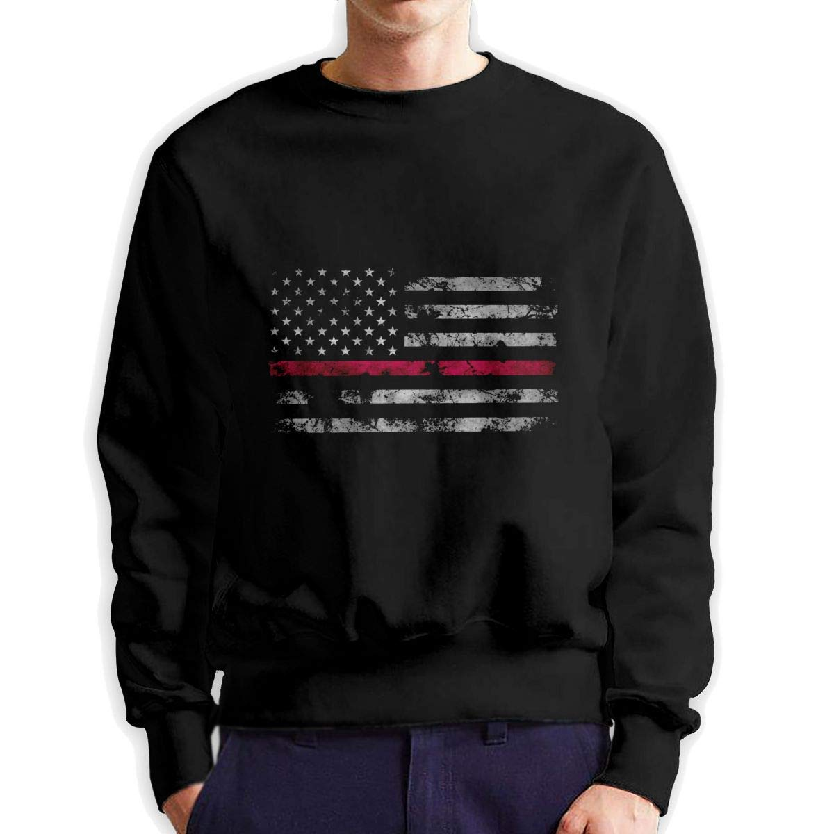 RUANJB Mens Retro America Flag Long Sleeve Crewneck Sweatshirt