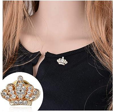 Amazon.com: Broche dorado/plata de cristal corona solapa ...
