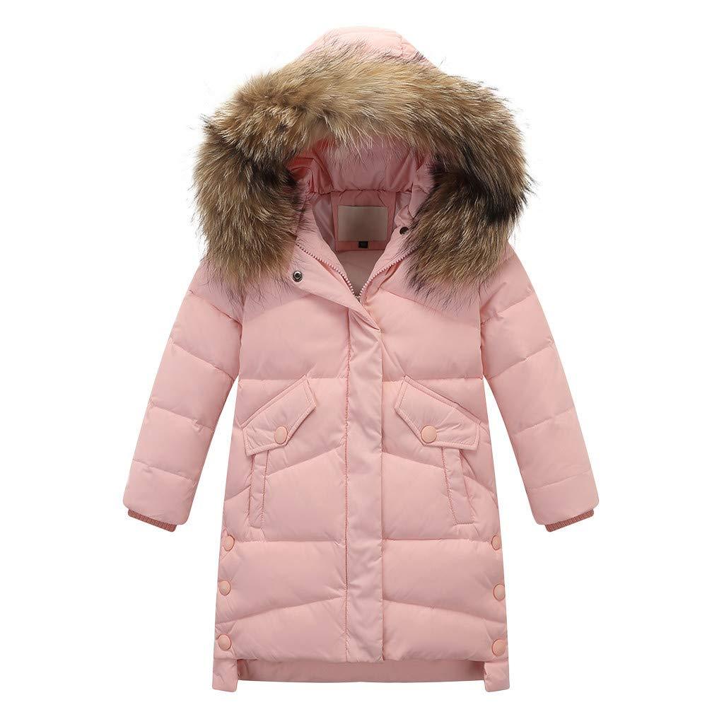 OCEAN-STORE Kids Girls Winter Faux Fur Hooded Parka Down Jacket Coat Puffer Padded Overcoat, Pink, 7-9 T by OCEAN-STORE