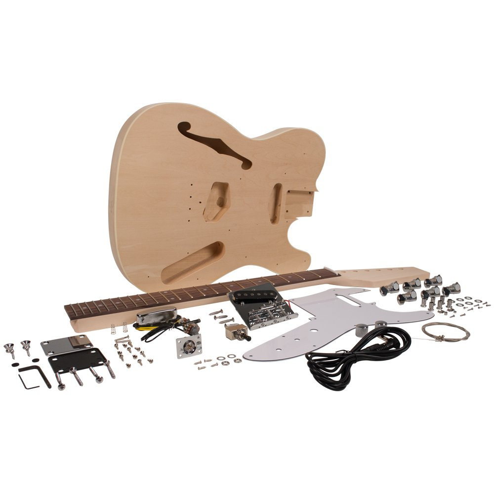 Seismic Audio - SADIYG-06 - DIY Tele Style Semi-Hollow Electric Guitar Kit - Unfinished Luthier Project Kit Seismic Audio Speakers Inc.