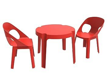 resol Rita Set Infantil de 2 Sillas y 1 Mesa, Rojo, 60x51x78 cm