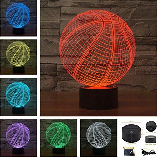 7 Colors Basketball Acrylic Visual Touch Table Lamp Bar Art Decor USB 3D LED Desk Night Light (3D-TD232)