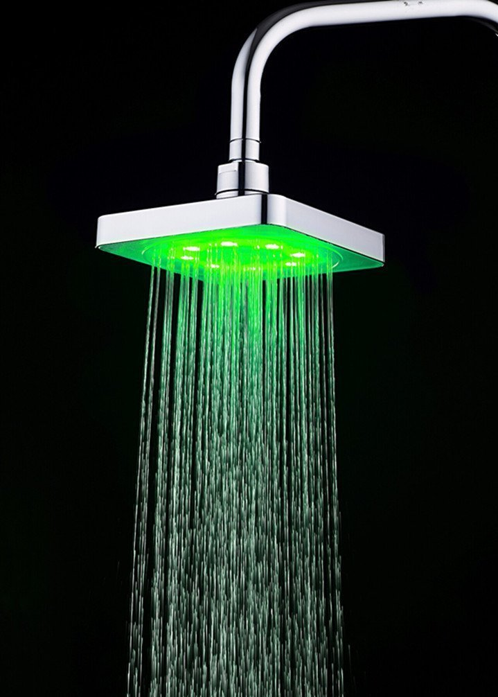 Fitiger 7 Color Changing 6 Inch Rainfall Square LED Top Shower Head ...