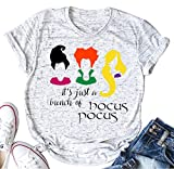 It's Just A Bunch of Hocus Pocus T Shirt for Funny Letter Print Short Sleeve Tee (Large, White)
