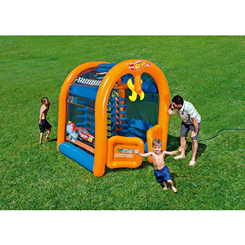 Hotwheels Car Wash Center, with Two Built-In Water Chambers on Both Sides, One Spinning Fan on top, Hooks Up to Standard Garden Hoses, 6.3' x 68