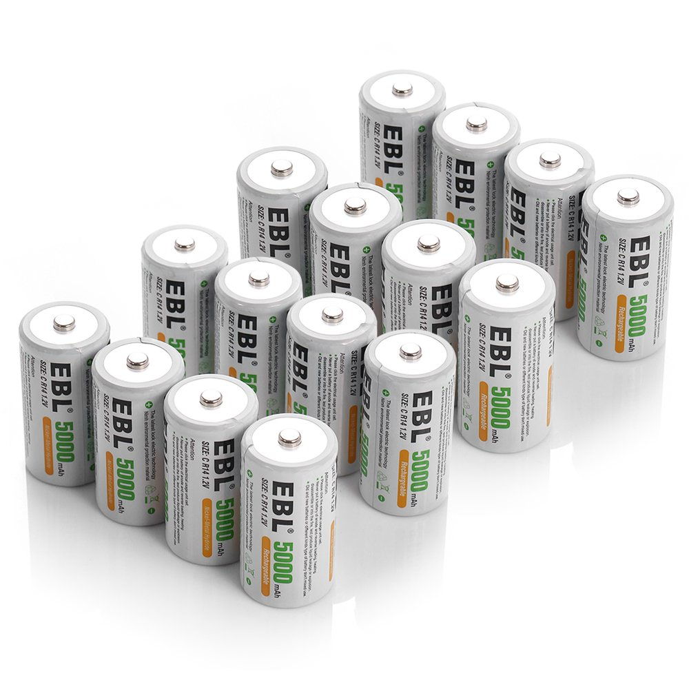 EBL C Cell 5000mAh Rechargeable Batteries, 16 Packs by EBL