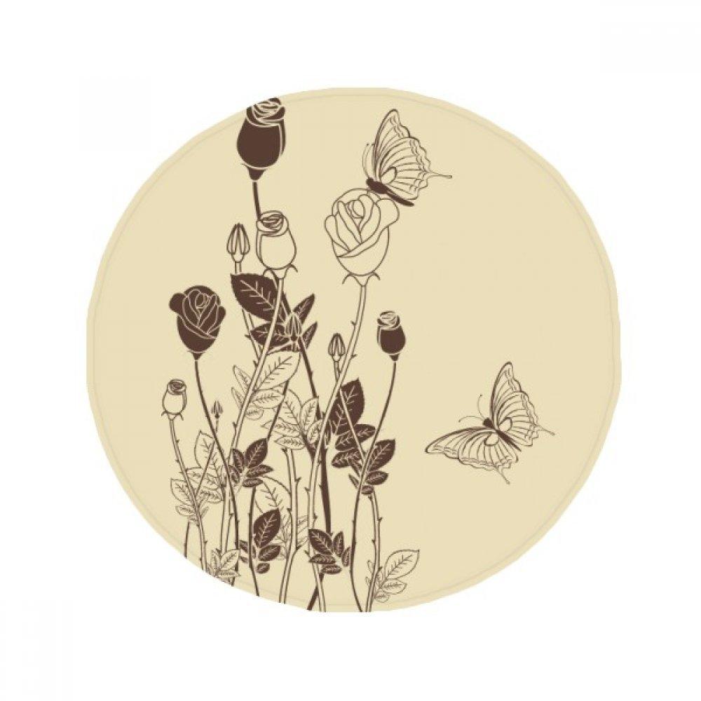 60X60cm DIYthinker pink Butterfly Leaves Flower Plant Anti-Slip Floor Pet Mat Round Bathroom Living Room Kitchen Door 60 50Cm Gift