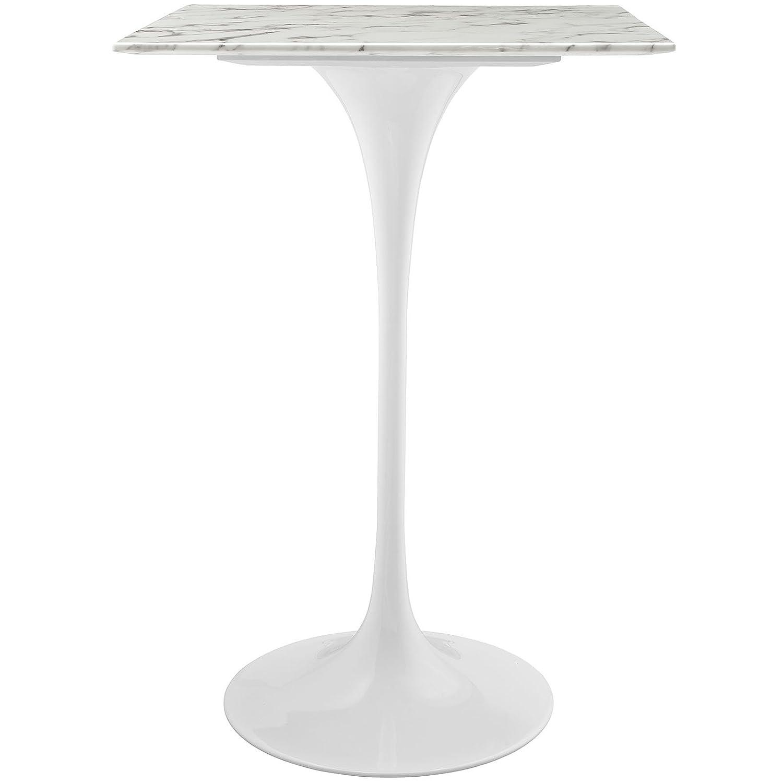 amazoncom modway lippa square artificial marble bar table   - amazoncom modway lippa square artificial marble bar table  whitekitchen  dining